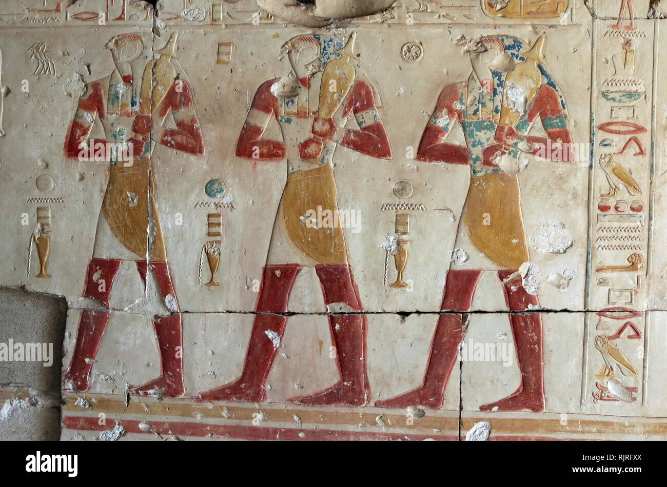 Abydos, one of the oldest cities of ancient Egypt; The souls of Pe. The Souls of Pe and Nekhen, mentioned first in the Pyramid Texts, refer to the ancestors of the ancient Egyptian kings. Nekhen and Pe, whose successors the Egyptian pharaohs were thought to be. - Stock Image