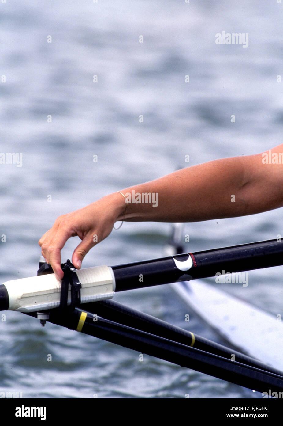Atlanta, USA.,  Bracketed wrist, tightens the oarlock gate, 1996 Olympic Rowing Regatta, Lake Lanier, Georgia, [Mandatory Credit Peter Spurrier/ Intersport Images] - Stock Image
