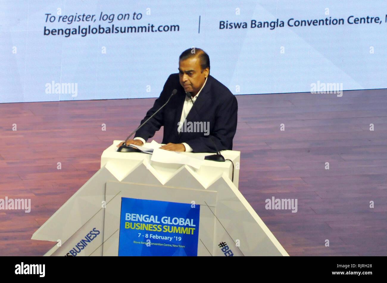 Reliance Industries Chairman Mukesh Ambani address during the inauguration of Bengal Global Business Summit 2019 at New Town. (Photo by Saikat Paul/Pacific Press) - Stock Image
