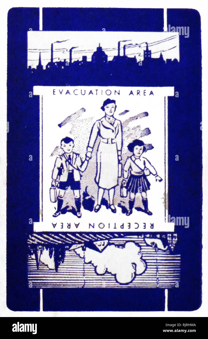 World war two, British, Evacuation, propaganda poster. 1940. The evacuation of children to the countryside by train, in Britain during the Second World War. Designed to protect people, especially children, from the risks associated with aerial bombing of cities by moving them to areas thought to be less at risk - Stock Image