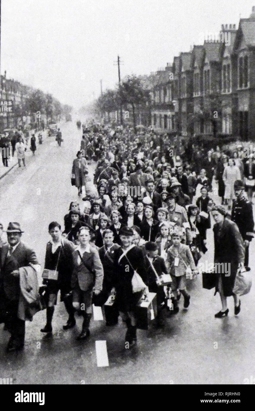 The evacuation of children to the countryside, in Britain during the Second World War. Designed to protect people, especially children, from the risks associated with aerial bombing of cities by moving them to areas thought to be less at risk - Stock Image