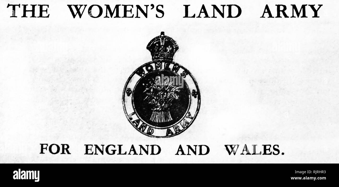 World War Two, British Propaganda Poster; calling for women to join the Women's Land Army 1940 - Stock Image