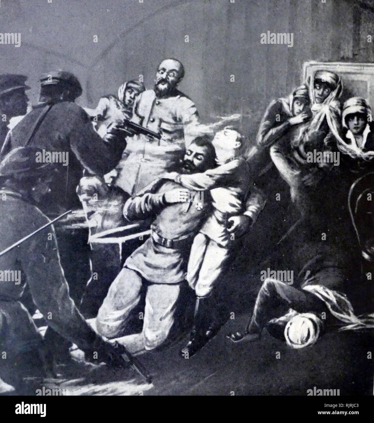 Artist impression of the murder of the Russian Imperial Romanov family (Tsar Nicholas II, his wife Tsarina Alexandra and their five children Olga, Tatiana, Maria, Anastasia, and Alexei) and all those who chose to accompany them into imprisonment--notably Eugene Botkin, Anna Demidova, Alexei Trupp and Ivan Kharitonov--were shot, bayoneted and clubbed to death[1] in Yekaterinburg on the night of 16-17 July 1918. The Tsar and his family were killed by several Bolshevik troops including Peter Ermakov, and led by Yakov Yurovsky under the orders of the Ural Regional Soviet and according to instructi - Stock Image