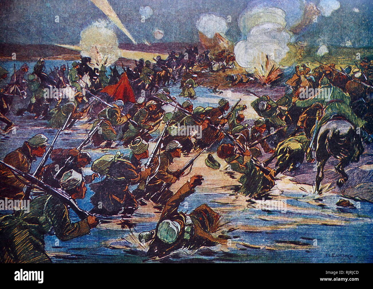 Night attack under Perekop by N Samoki. The Siege of Perekop was an important battle in the Russian Civil War. It took place from 7 to 17 November 1920. The operation allowed offensive troops of the Southern Front of the Red Army under the command of Mikhail Frunze to advance against the White Russian army of General Pyotr Nikolayevich Wrangel to break through the fortifications at Perekop and Sivash, leading to the Red Army occupation of the Crimea. - Stock Image
