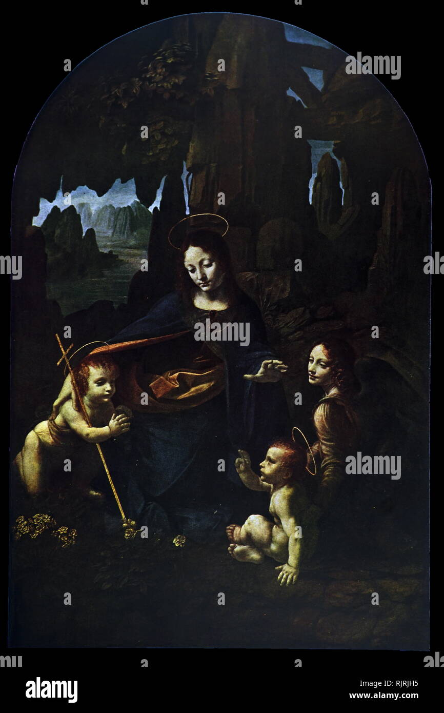 The Virgin of the Rocks (1495 - 1508), by Leonardo da Vinci, (in the National Gallery, London). Madonna and child Jesus with the infant John the Baptist and an angel, in a rocky setting which gives the paintings their usual name. Leonardo da Vinci (1452 - 1519), Italian polymath of the Renaissance, whose areas of interest included invention, painting, sculpting, architecture, science, music, mathematics, engineering, literature, anatomy, geology, astronomy, botany, writing, history, and cartography. - Stock Image