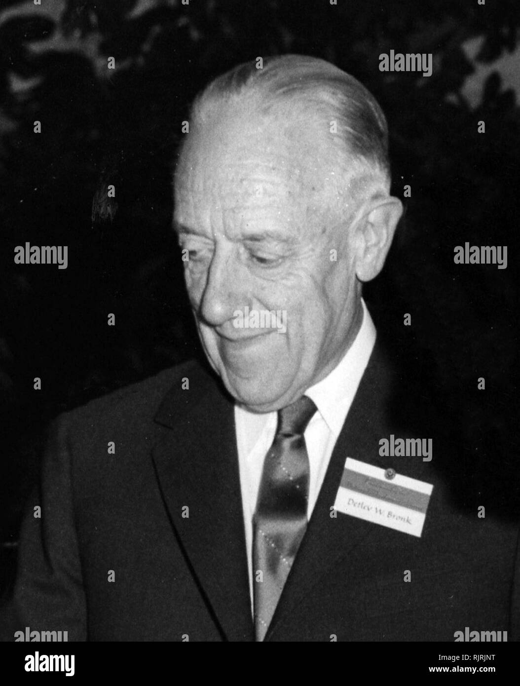 Detlev Wulf Bronk (1897 - 1975), American scientist, educator, and administrator. He is credited with establishing biophysics as a recognized discipline. He was a named member of the In UFO conspiracy theories, Majestic 12 (or MJ-12); code name of an alleged secret committee of scientists, military leaders, and government officials, formed in 1947 by an executive order by U.S. President Harry S. Truman to facilitate recovery and investigation of alien spacecraft - Stock Image