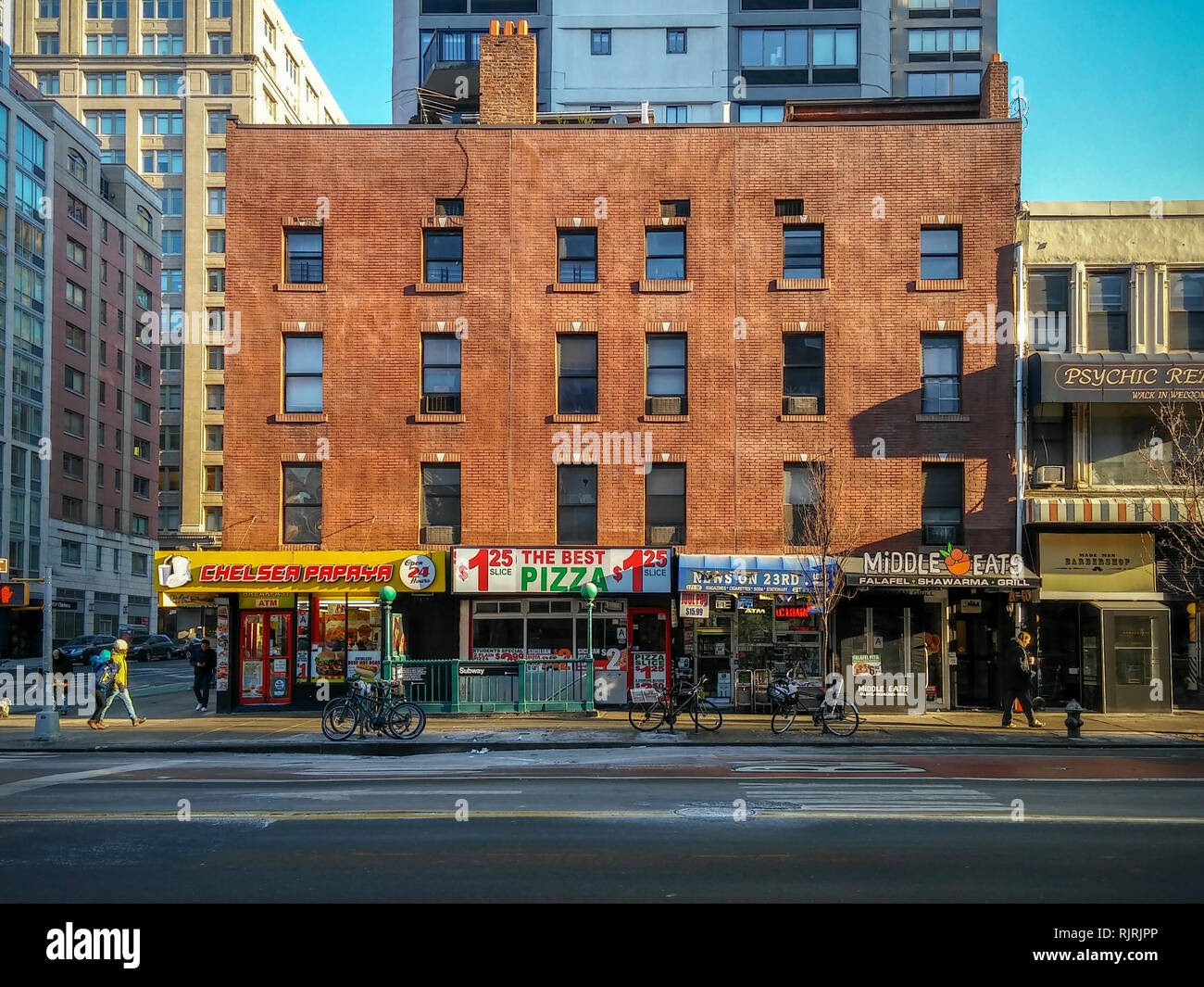 An assortment of businesses in the Chelsea neighborhood of New York on Sunday, February 3, 2019.  (© Richard B. Levine) - Stock Image