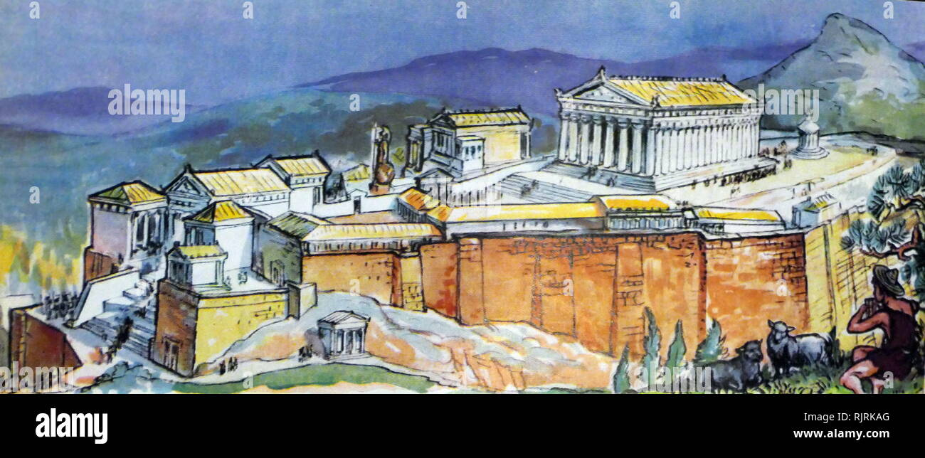 Illustration from a children's encyclopaedia, depicting ancient Athens with the Acropolis. circa 1947. Pericles (c. 495 - 429 BC) in the fifth century BC who coordinated the construction of the site's most important present remains including the Parthenon, the Propylaea, the Erechtheion and the Temple of Athena Nike - Stock Image