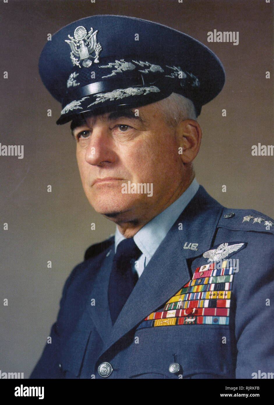 Nathan Twining (1897 - 1982); United States Air Force general. 1953 until 1957; Chairman of the Joint Chiefs of Staff from 1957 to 1960. He was a named member of the In UFO conspiracy theories, Majestic 12 (or MJ-12); code name of an alleged secret committee of scientists, military leaders, and government officials, formed in 1947 by an executive order by U.S. President Harry S. Truman to facilitate recovery and investigation of alien spacecraft - Stock Image
