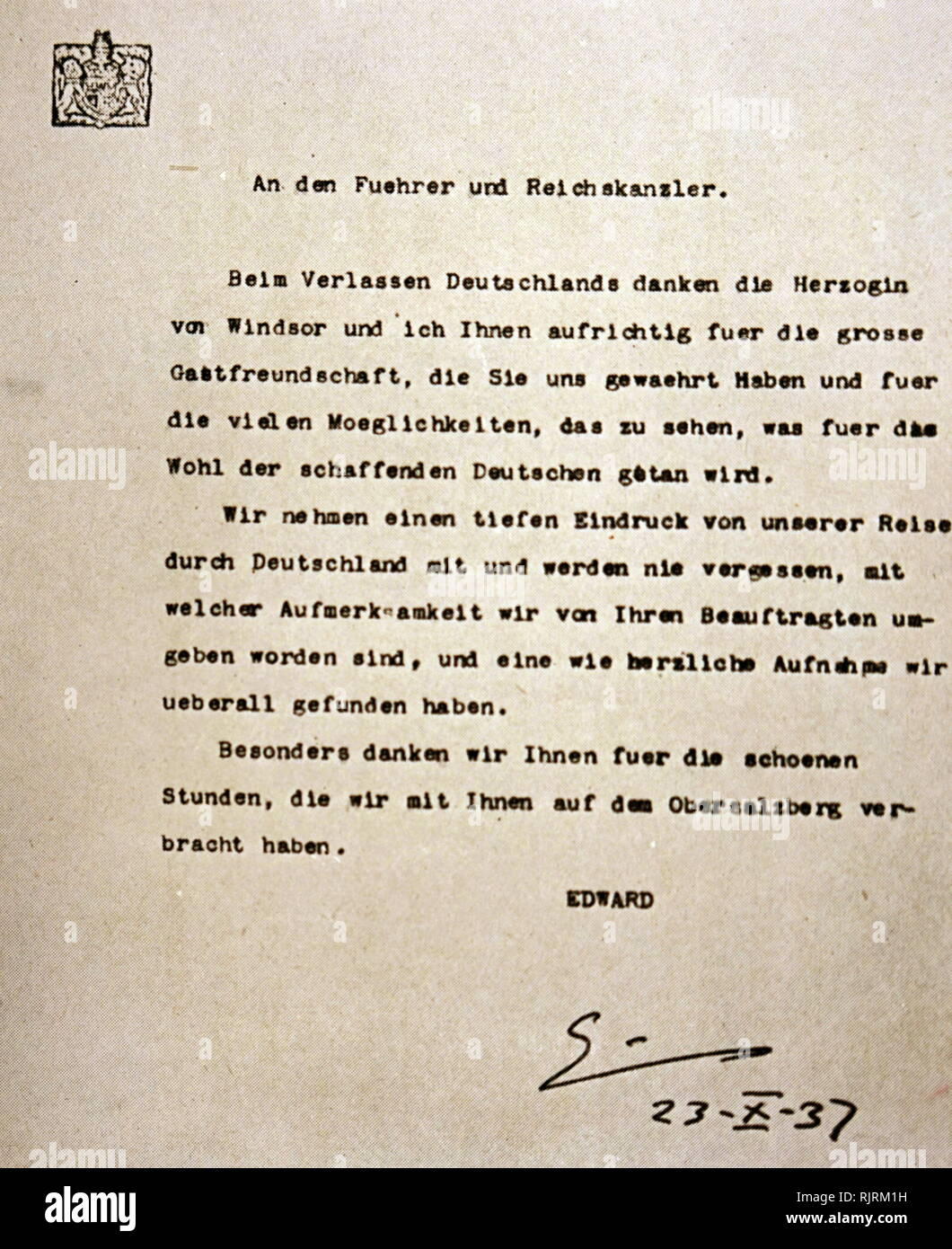 Letter of appreciation by the Duke of Windsor, for hospitality shown by Adolf Hitler. Duke and Duchess of Windsor meet Hitler in October of 1937. The Duke of Windsor had been King Edward VIII of Great Britain till his abdication the previous year - Stock Image