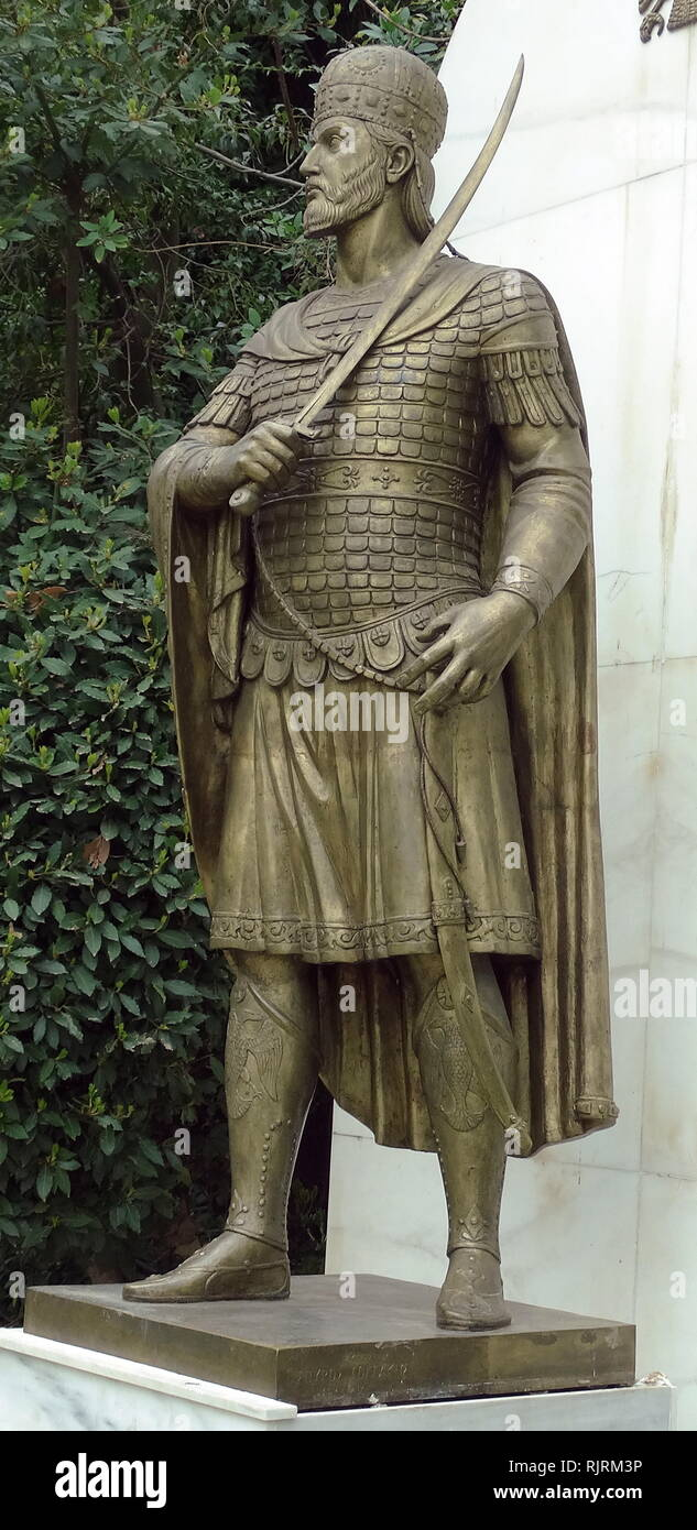 Statue of Constantine XI Dragases Palaiologos, Latinized as Palaeologus (1405 - 1453), last reigning Roman and Byzantine Emperor, ruling as a member of the Palaiologos dynasty from 1449 to his death in battle at the fall of Constantinople in 1453. - Stock Image