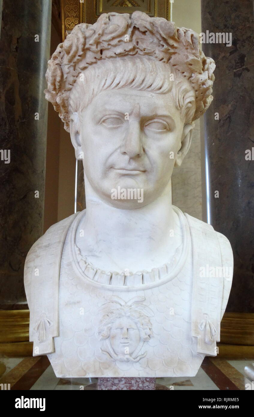 Marble bust of Trajan (53 - 117 AD); Roman emperor from 98 to 117 AD. Trajan is remembered as a successful soldier-emperor who presided over the greatest military expansion in Roman history, leading the empire to attain its maximum territorial extent by the time of his death. He is also known for his philanthropic rule, overseeing extensive public building programs and implementing social welfare policies, which earned him his enduring reputation as the second of the Five Good Emperors who presided over an era of peace and prosperity in the Mediterranean world. - Stock Image