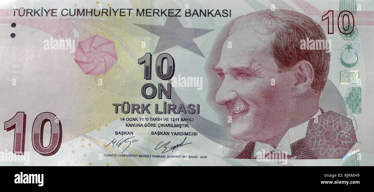 20 Lira Turkish banknote depicting, Kemal Ataturk first President of Turkey - Stock Image