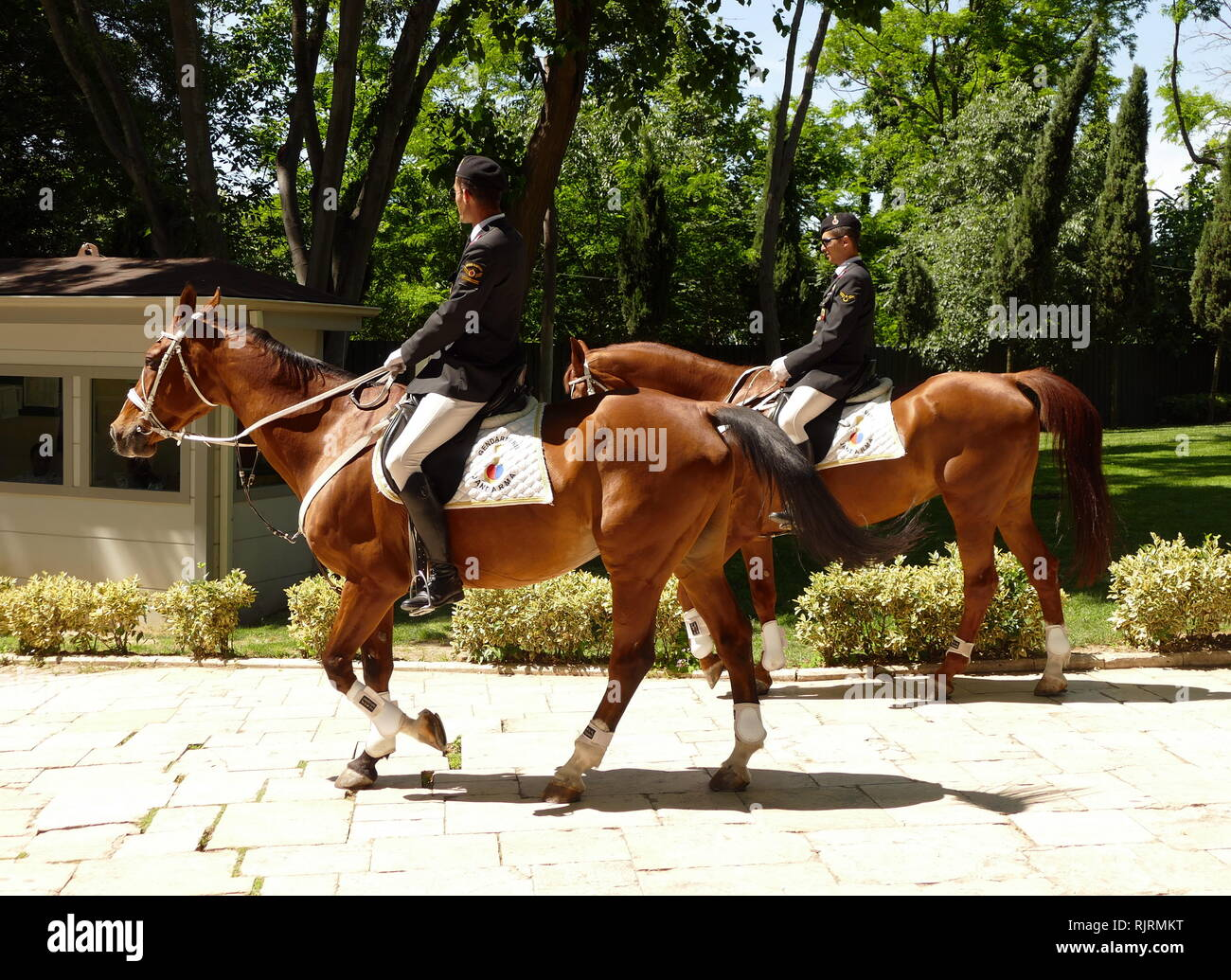 Mounted cavalry of the Turkish Gendarmerie General Command, a service branch of the Turkish Armed Forces responsible for the maintenance of the public order in areas that fall outside the jurisdiction of police forces. - Stock Image