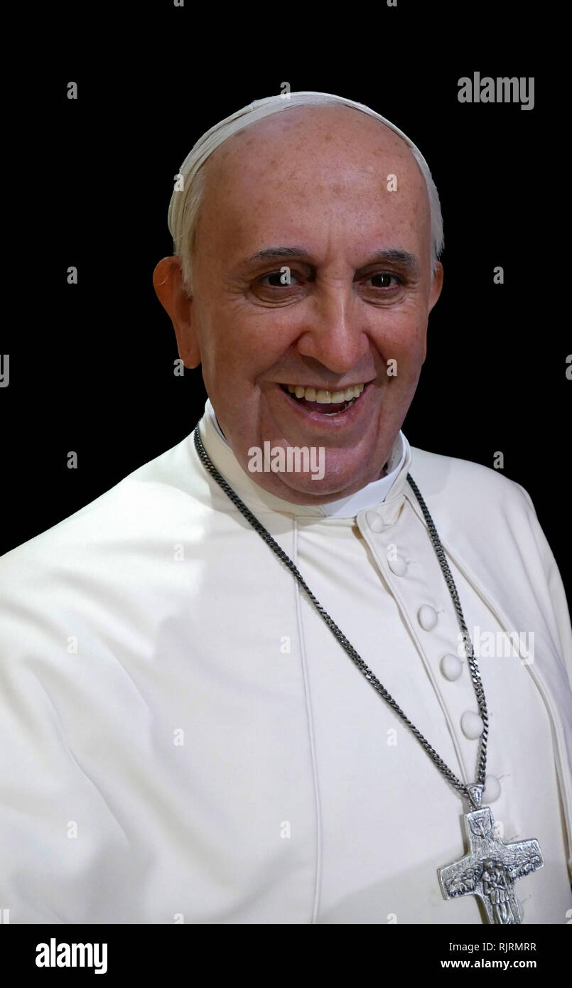 Pope Francis (born 1936), Pope since 2013. first Jesuit pope, the first from the Americas, the first from the Southern Hemisphere. - Stock Image