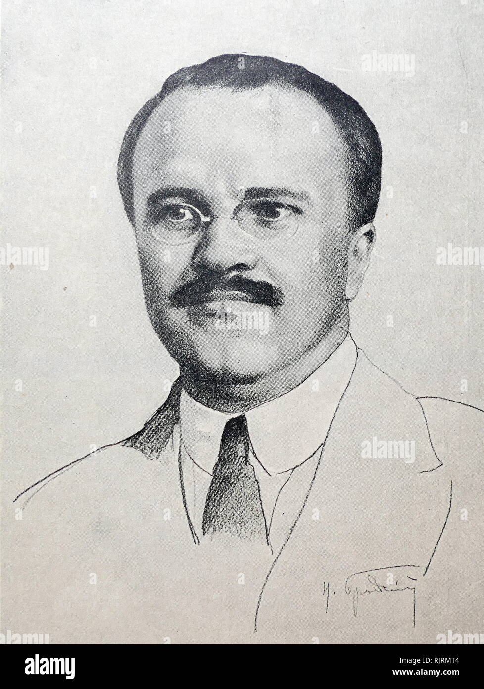 Drawing of Vyacheslav Mikhailovich Molotov (1890 - 1986); Soviet politician and diplomat, and a leading figure in the Soviet government from the 1920s. He rose to power as a protege of Joseph Stalin. Molotov served as Chairman of the Council of People's Commissars (Premier) from 1930 to 1941, and as Minister of Foreign Affairs from 1939 to 1949 and from 1953 to 1956. He served as First Deputy Premier from 1942 to 1957, when he was dismissed from the Presidium of the Central Committee by Nikita Khrushchev - Stock Image