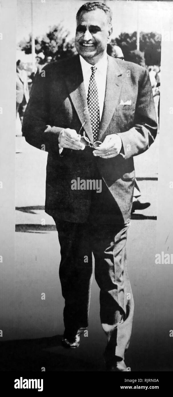 Gamal Abdel Nasser Hussein (1918 - 1970), President of Egypt, serving from 1956 until his death in 1970. Nasser led the 1952 overthrow of the monarchy and introduced far-reaching land reforms the following year - Stock Image
