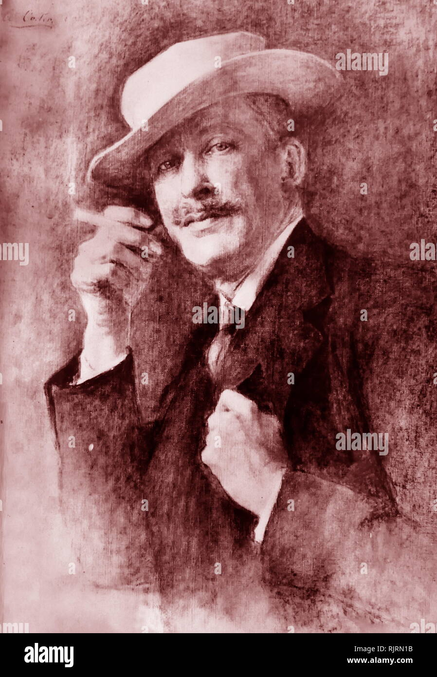 Sketch of the Lord Carnarvon, the 5th Earl of Carnarvon, (1866 - 1923); English peer and aristocrat best known as the financial backer of the search for and the excavation of Tutankhamen's tomb in the Valley of the Kings. - Stock Image