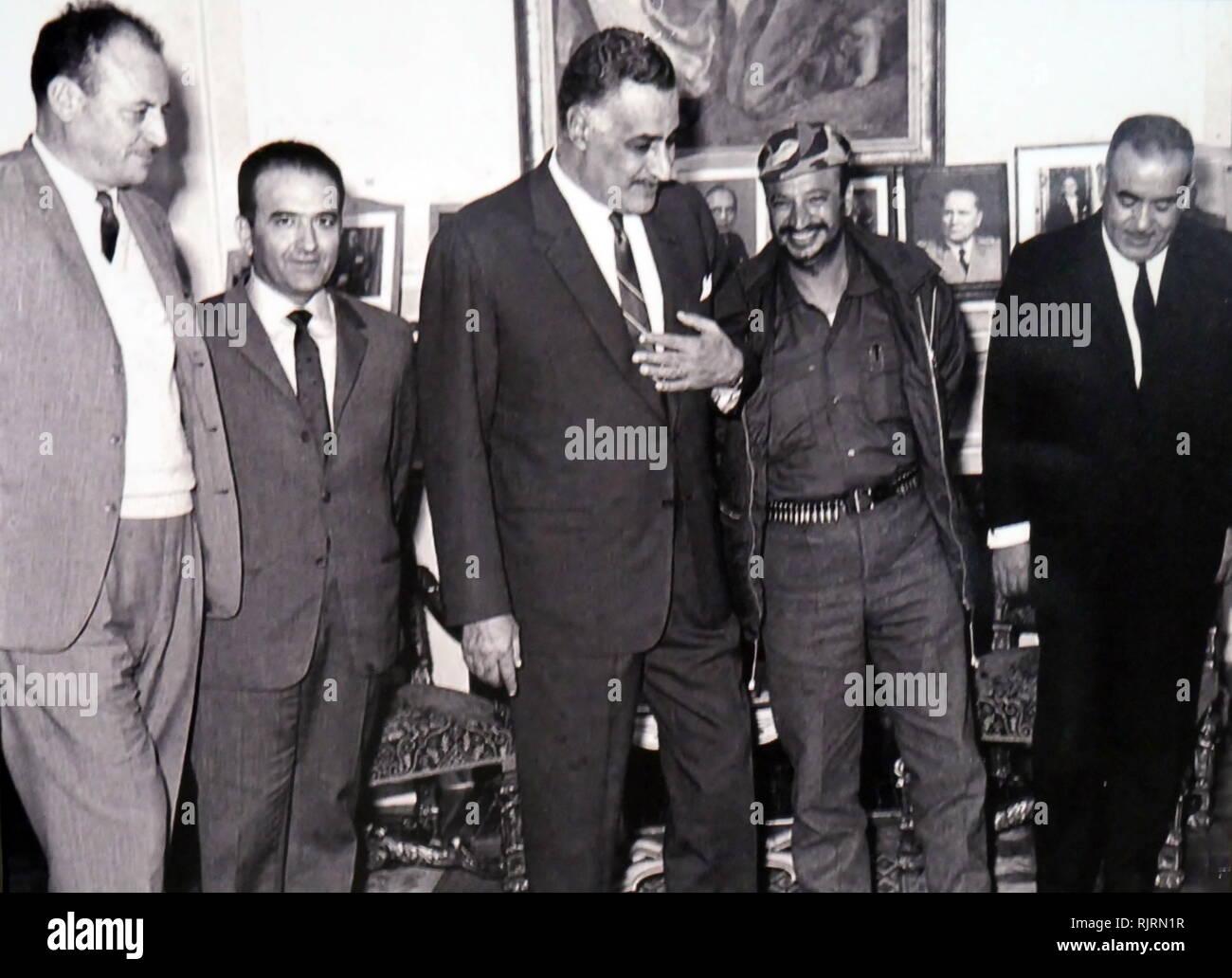 President Gamal Nasser of Egypt with Palestinian leader, Yasser Arafat 1968 - Stock Image