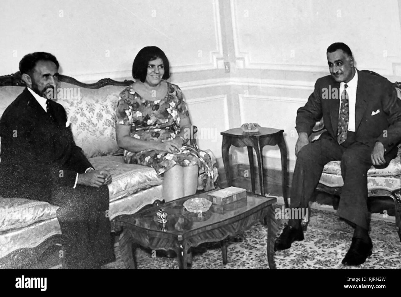 President Gamal Nasser of Egypt with Haile Selassie Emperor of Ethiopia. 1965 - Stock Image