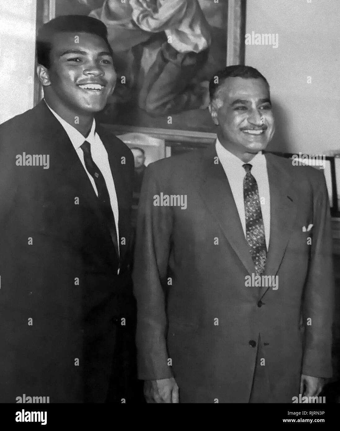 Muhammad Ali meets President Gamal Abdul Nasser of Egypt, 1964. Muhammad Ali,(1942 - 2016). Ali was an American professional boxer and activist; He is widely regarded as one of the most significant and celebrated sports figures of the 20th century. - Stock Image