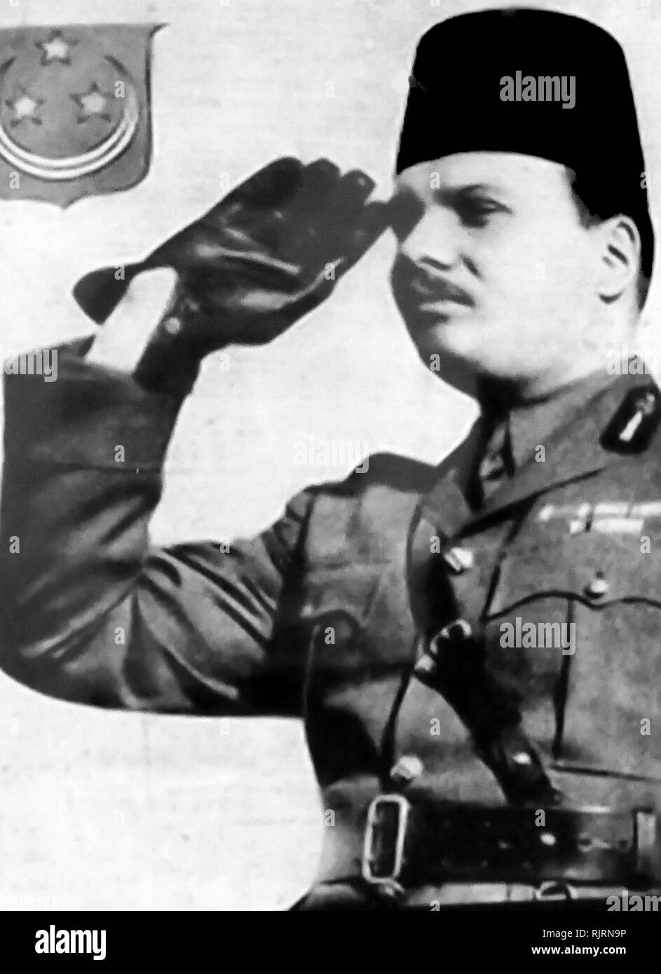 Farouk I (1920 - 1965), King of Egypt and the Sudan, succeeding his father, Fuad I, in 1936. He was overthrown in the 1952 military coup d'etat and forced to abdicate in favour of his infant son, Ahmed Fuad, who succeeded him as Fuad II. He died in exile in Italy in 1965. - Stock Image
