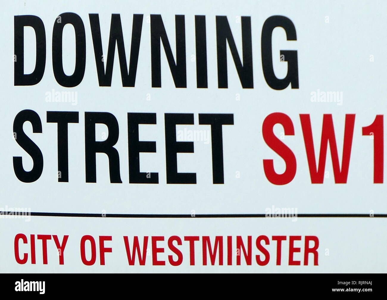 Downing Street is a street in London, United Kingdom, known for housing the official residences and offices of the Prime Minister and the Chancellor of the Exchequer. The street was built in the 1680s by Sir George Downing. - Stock Image