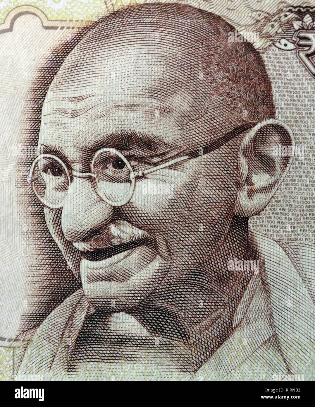 Gandhi depicted on the 500 Rupee banknote, used in India, between October 1997 and November 2016. Mohandas Karamchand Gandhi (1869 - 1948), was an Indian activist who was the leader of the Indian independence movement against British rule. - Stock Image