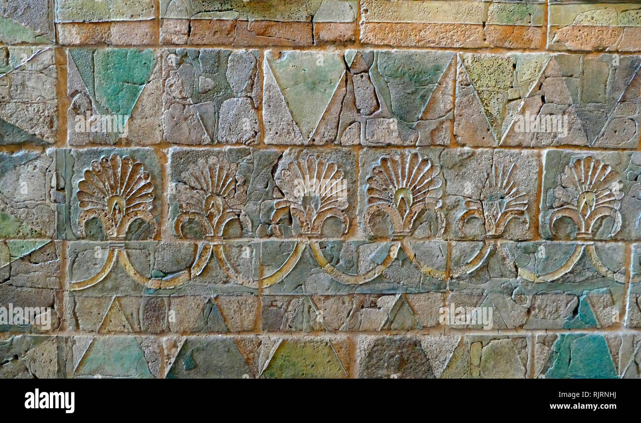glazed wall tiles at the Palace of Darius in Susa, Iran, capital of the Achaemenid Empire. The palace complex was constructed by the Achaemenid king Darius I. (c. 550-486 BCE) was the fourth king of the Persian Achaemenid Empire - Stock Image