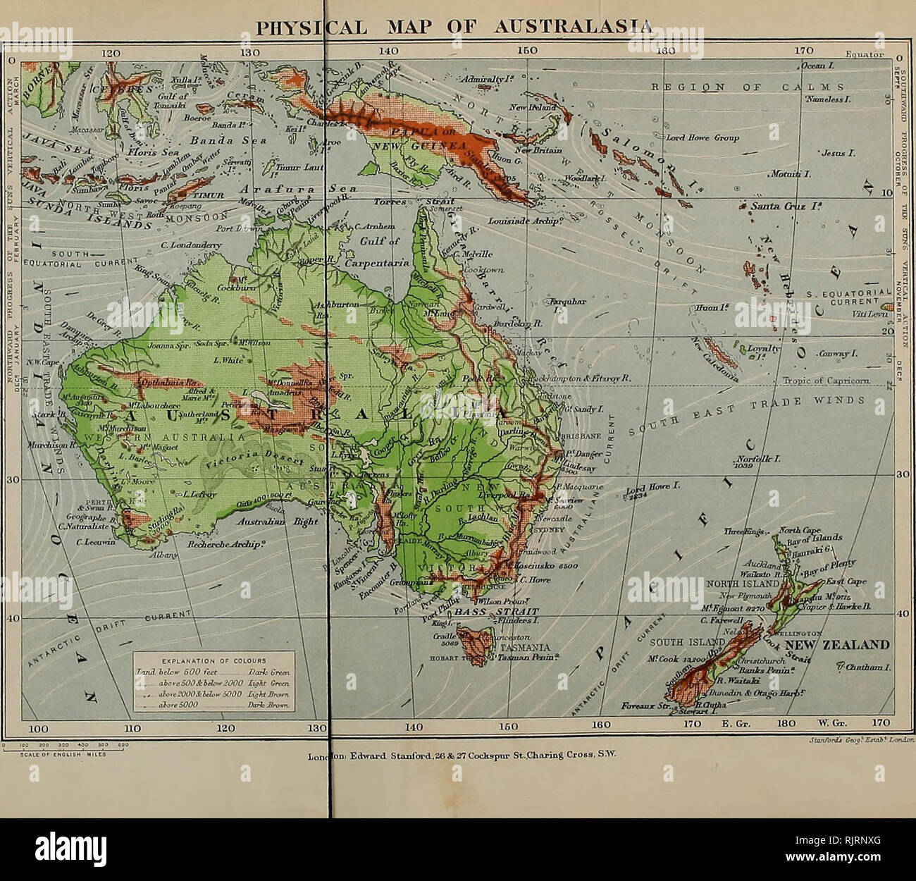 Physical Map Of New Zealand.Australia And New Zealand Natural History Natural History