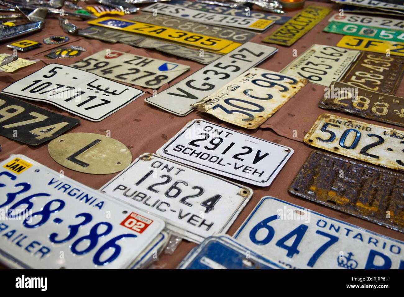 Car registration plates. Retro Málaga 2019. Spain. Stock Photo