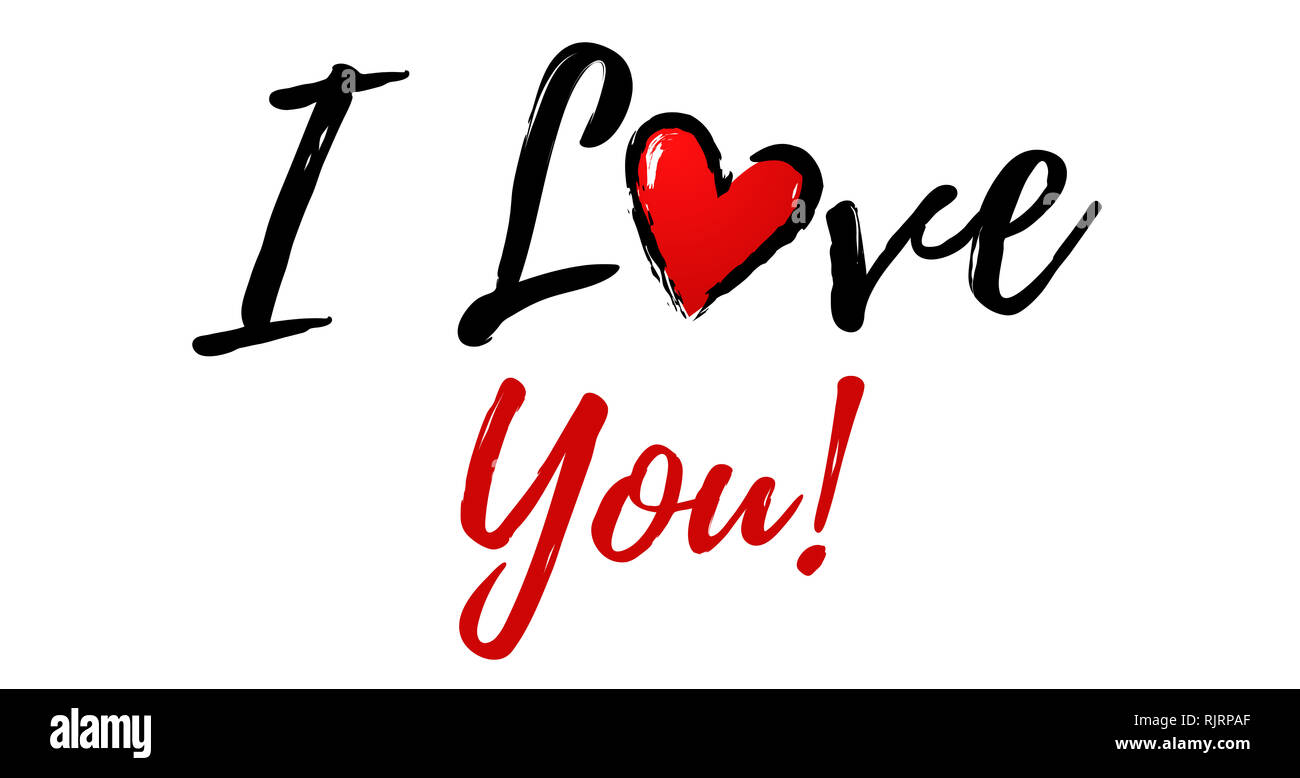 I love You Illustration with heart - Stock Image