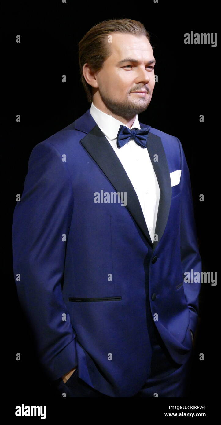 Waxwork figure depicting, Leonardo DiCaprio (born November 11, 1974); American actor and film producer. DiCaprio began his career by appearing in television commercials in the late 1980s. He next had recurring roles in various television series, such as the soap opera Santa Barbara and the sitcom Growing Pains. - Stock Image