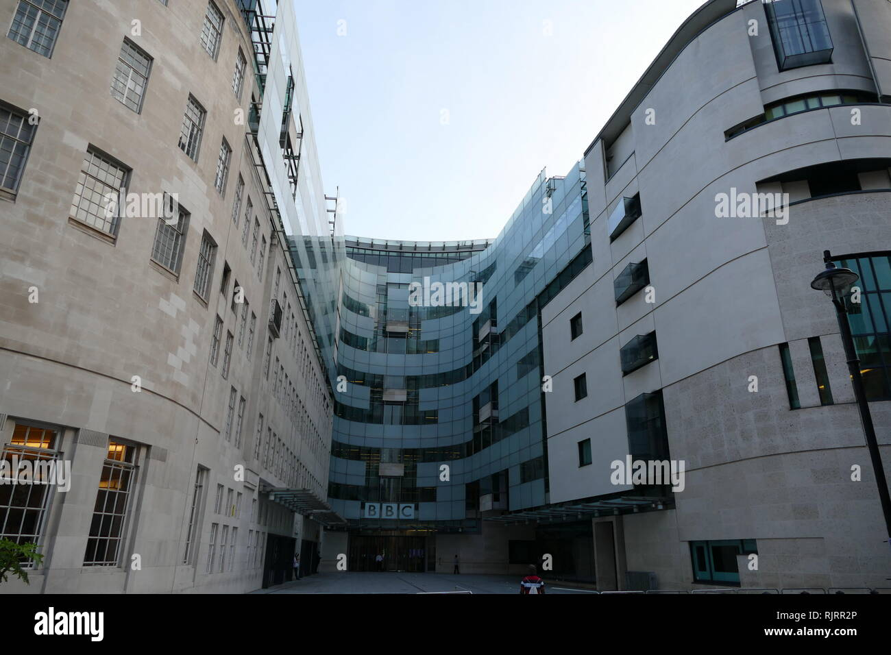 Broadcasting House; headquarters of the BBC, in London. The first radio broadcast from the building was made on 15 March 1932. The main building is in Art Deco style, with a facing of Portland stone over a steel frame. - Stock Image
