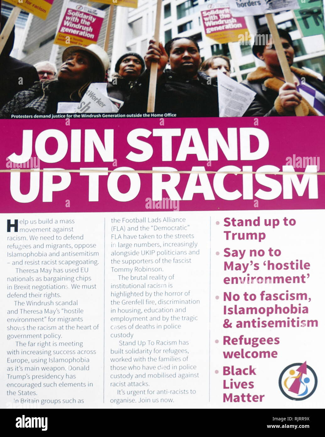 Leaflet published against, Tommy Robinson, an English far-right activist, who co-founded and served as spokesman and leader of the English Defence League (EDL). - Stock Image