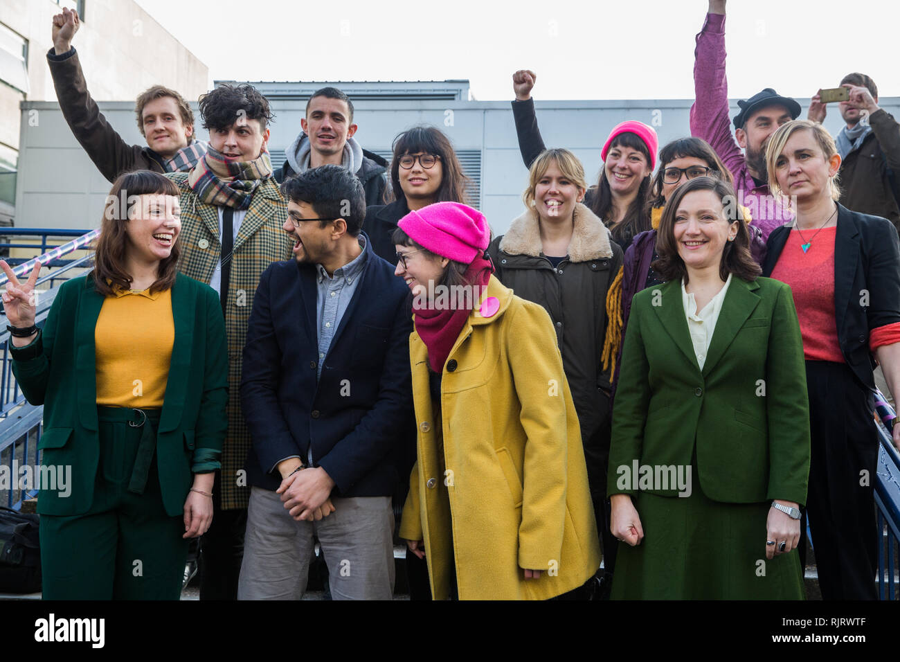 Chelmsford, UK. 6th February, 2019. The Stansted 15 stand outside Chelmsford Crown Court before sentencing. They were convicted on 10th December of an anti-terrorism offence under the Aviation and Maritime Security Act 1990 following non-violent direct action to try to prevent a Home Office deportation flight carrying precarious migrants to Nigeria, Ghana and Sierra Leone from taking off from Stansted airport in March 2017. Credit: Mark Kerrison/Alamy Live News Stock Photo