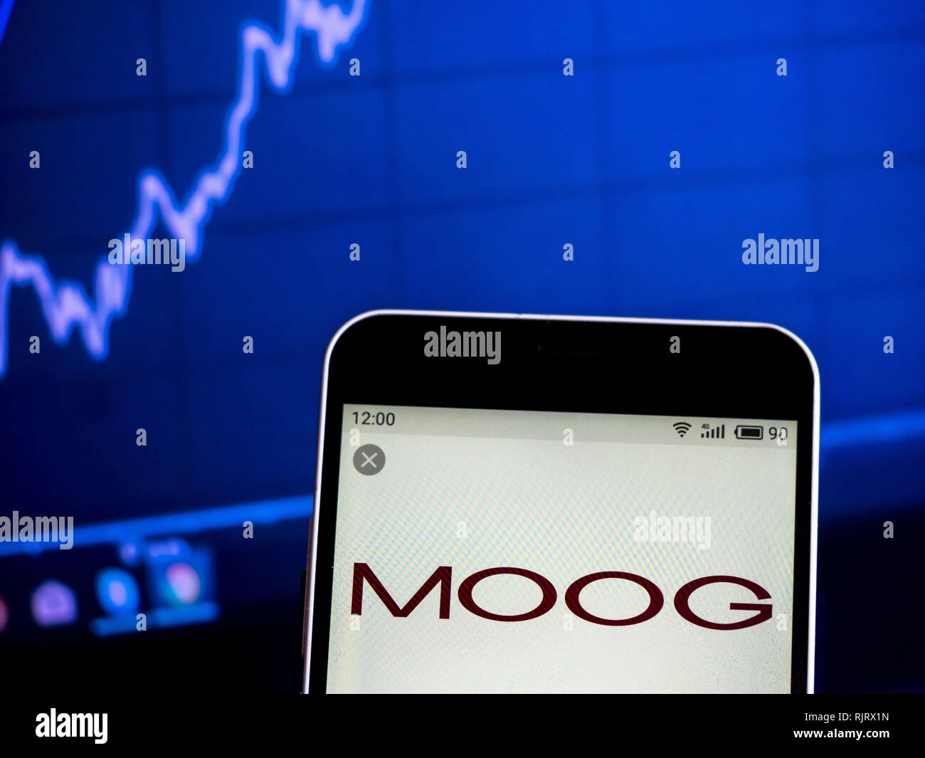 Ukraine. 7th Feb, 2019. Moog Inc. Aerospace and defense company logo seen displayed on a smart phone. Credit: Igor Golovniov/SOPA Images/ZUMA Wire/Alamy Live News - Stock Image