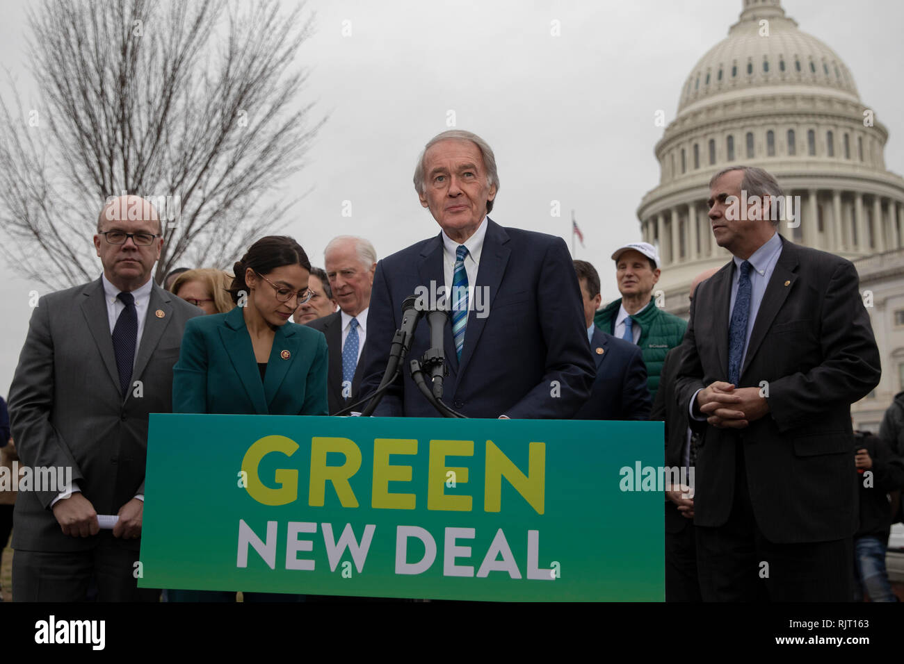 """Senator Ed Markey, Democrat of Massachusetts, speaks during a press conference to announce the """"Green New Deal"""" held at the United States Capitol in Washington, DC on February 7, 2019. Credit: Alex Edelman/CNP   usage worldwide Stock Photo"""