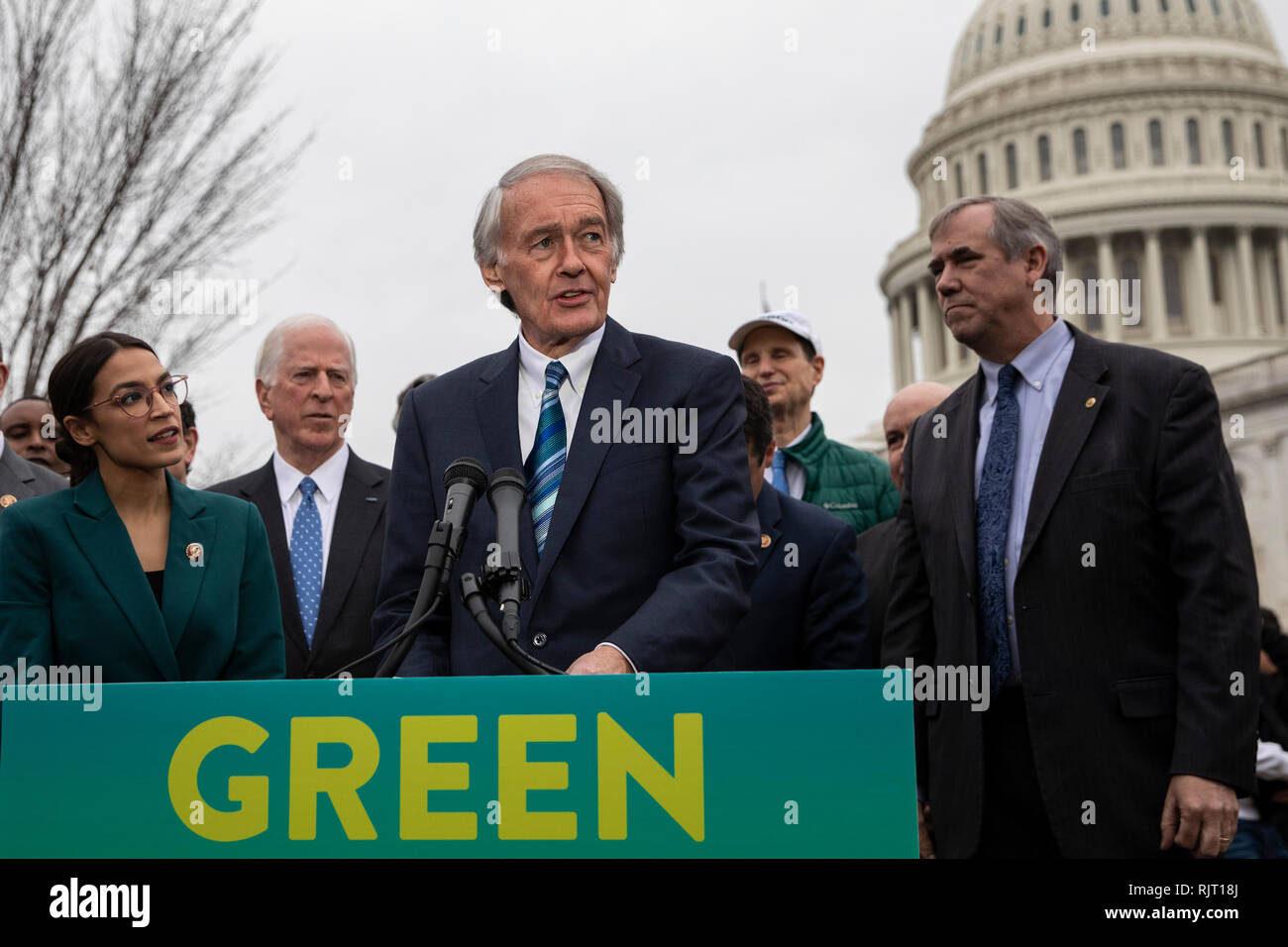 """Senator Ed Markey, Democrat of Massachusetts, speaks during a press conference to announce the """"Green New Deal"""" held at the United States Capitol in Washington, DC on February 7, 2019. Credit: Alex Edelman/CNP 