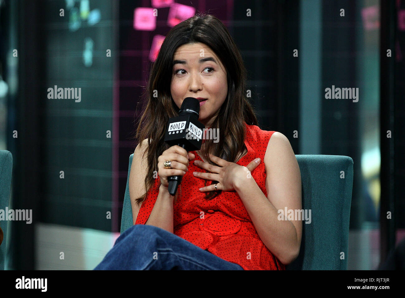New York, USA. 07 Feb, 2019. Maya Erskine visits The Thursday, Feb 7, 2019 BUILD Series Inside Candids discussing 'Pen15' at BUILD Studio in New York, USA. Credit: Steve Mack/S.D. Mack Pictures/Alamy Live News - Stock Image
