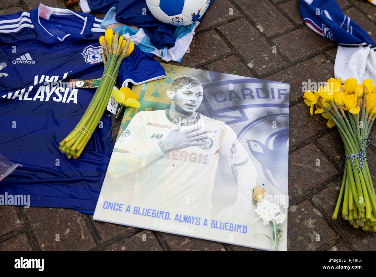 Cardiff, Wales, UK. February 8th 2019. Tributes to Emiliano Sala outside Cardiff City Stadium on the morning after a body retrieved from the light aircraft wreck in the English Channel was identified as being that of Sala. Credit: Mark Hawkins/Alamy Live News - Stock Image
