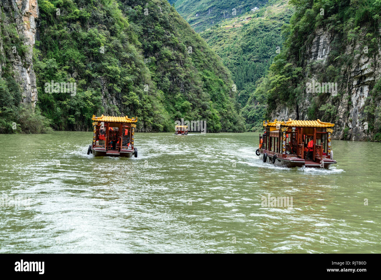 Tour Boats On River - Stock Image