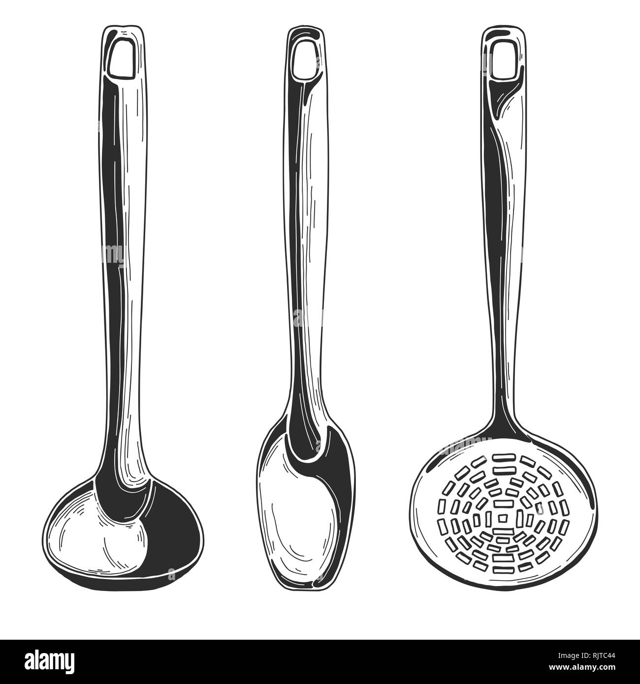 Kitchen utensils. Different spoons and other accessories. Isolated vector illustration on white background. - Stock Vector