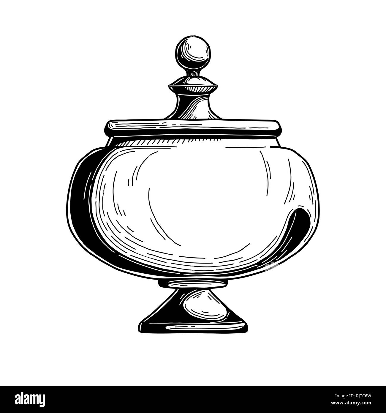 Candy Jar Sugar Bowl Realistic Sketch Isolated Illustration On White Background Vector Illustration Stock Vector Image Art Alamy