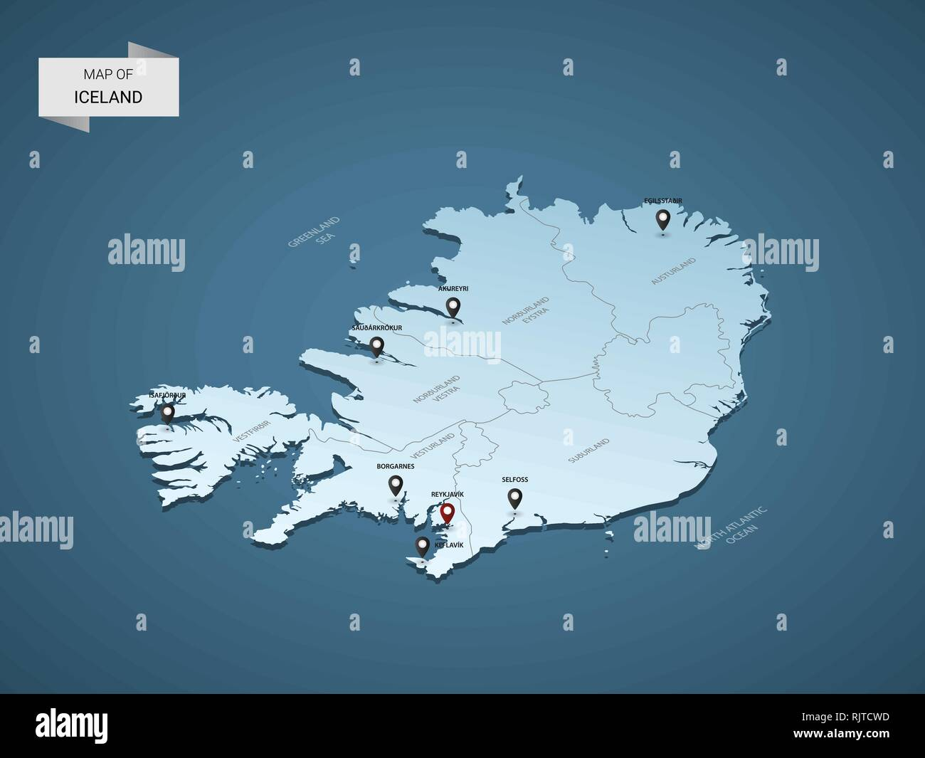 Isometric 3D Iceland map, vector illustration with cities, borders ...