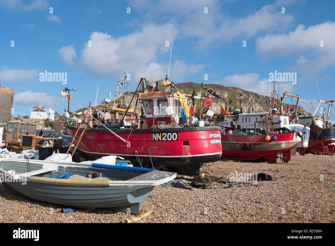 Fishing boats on Hastings Old Town Stade fishermen's beach, East Sussex, UK - Stock Image