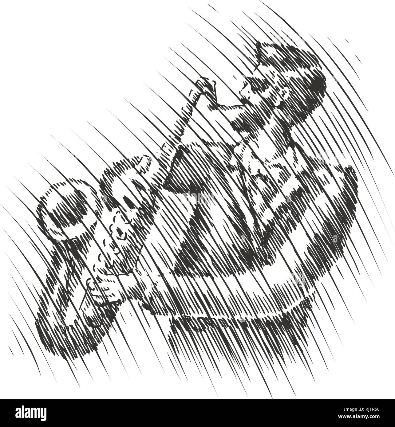 Musician plays the saxophone. Live music, musical festival sketch. Jazz, blues vector illustration - Stock Image