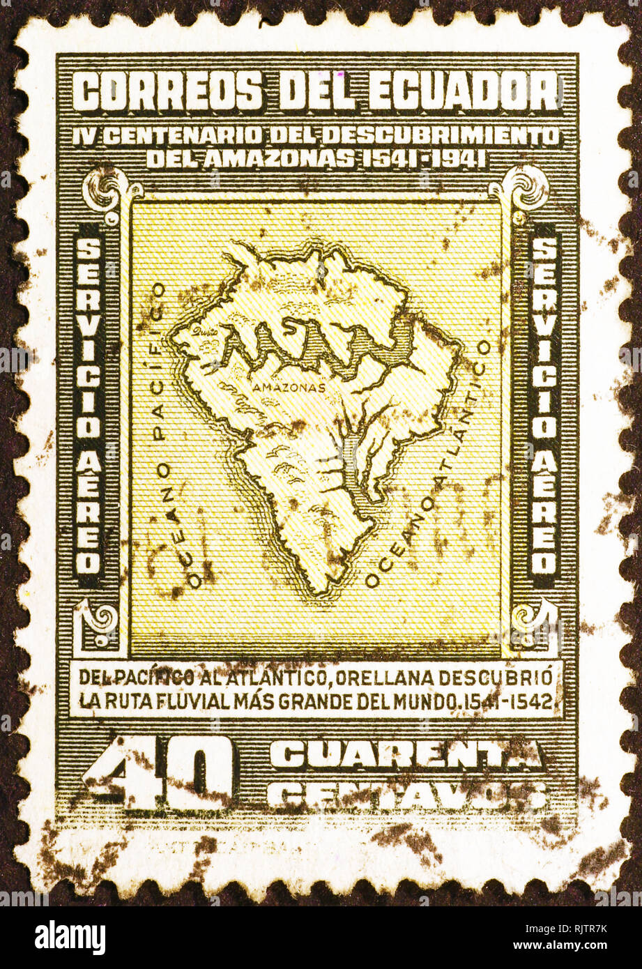 Ancient map of South America on old stamp - Stock Image