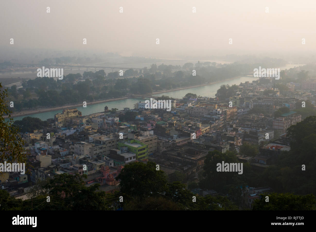 Air pollution over the Ganges River in Haridwar, India - Stock Image