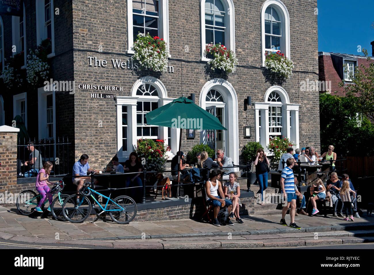 Exterior view of The Wells Tavern pub, Hampstead, London, United Kingdom - Stock Image
